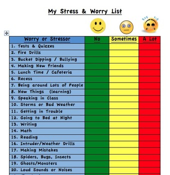 My Stress and Worry List