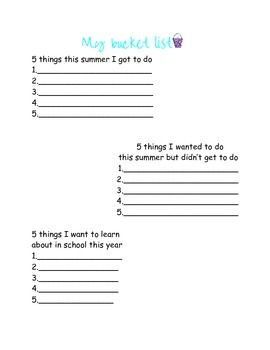 My Summer! Back to school worksheets
