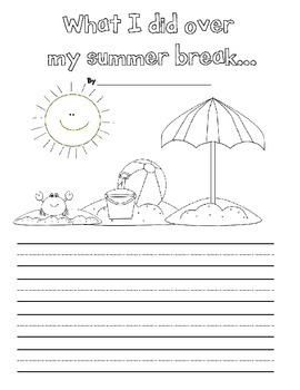 My Summer Break Primary Writing Prompt