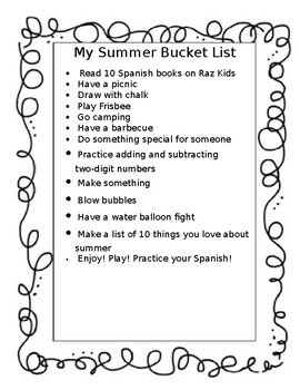 My Summer Bucket List - Editable