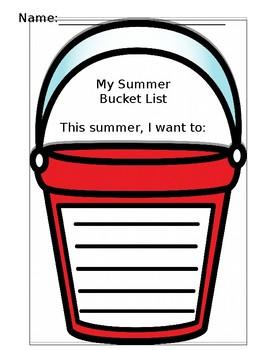 My Summer Bucket List - End-of-School-Year Writing Activity