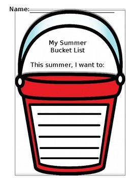 My Summer Bucket List - End-of-School-Year Writing Activity