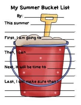 My Summer Bucket List - End of Year Writing Activity