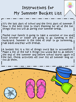 My Summer Bucket List Freebie