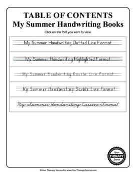 My Summer Handwriting Packet