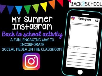 My Summer Instagram Back to School Activity
