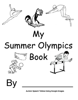 My Summer Olympics Action Book (BW Printable) Autism, Speech, Olympics