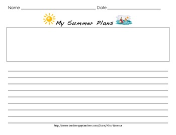 My Summer Plans Writing Activity