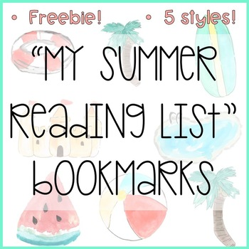 My Summer Reading List Bookmarks