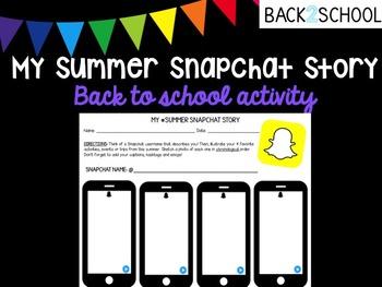 My Summer Snapchat Story Back to School Activity