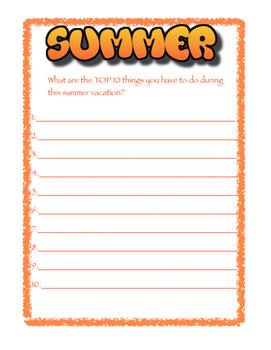 My Summer Top 10 List