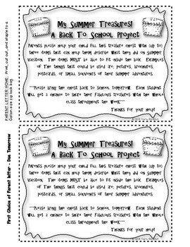 My Summer Treasures! - A Back To School Lesson/Craft FREEBIE!