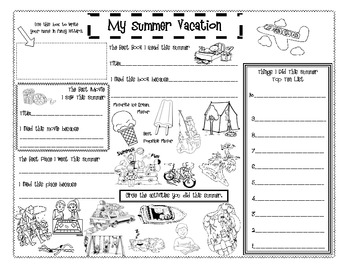 What Did You Do On Summer Vacation Worksheets & Teaching Resources | TpT