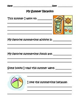 My Summer Vacation Writing Prompts
