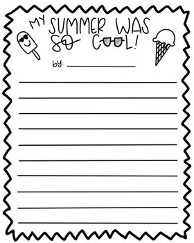 My Summer Was So Cool Writing Activity