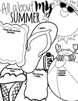 My Summer Writing Sheet