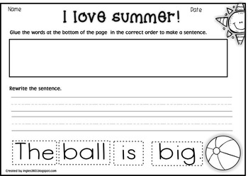 My Summery Sentences - Print & Go Pack