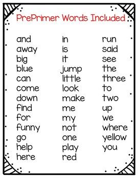 My Super Sight Words Worksheets (PrePrimer Words)
