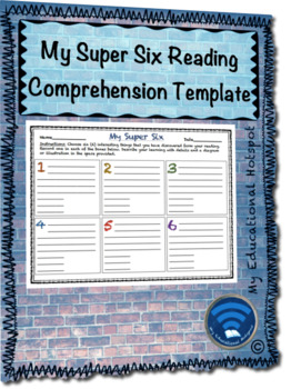 My Super Six Reading Comprehension Note Taking Template