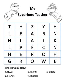 My Superhero teacher wordsearch