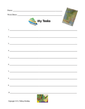 """""""My Tasks"""" Organizing Sheet for Students"""