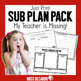 Sub Plan Pack My Teacher Is Missing
