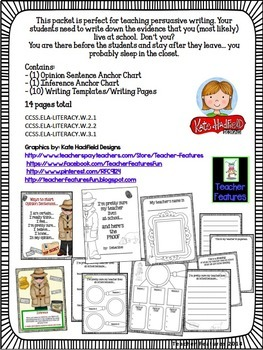 PERSUASIVE WRITING GRAPHIC ORGANIZERS : Does My Teacher Live At School?