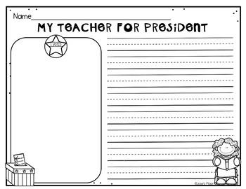 My Teacher for President Writing Paper FREEBIE