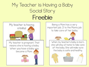 My Teacher is Having a Baby Social Story for Autism, ABA, Special Education