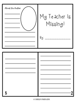 Sub Plans: My Teacher is Missing Writing Activity