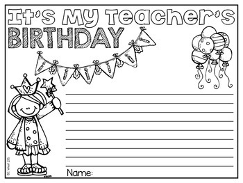 My Teacher's Birthday Activities Freebie