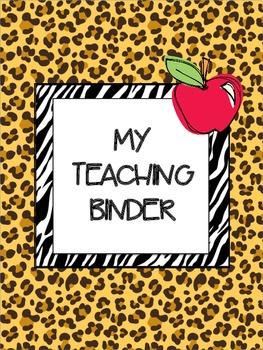 My Teaching Binder {Safari/Animal Prints}: Organize Your Life in the Classroom
