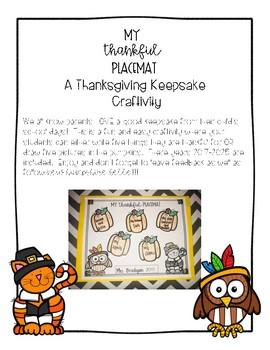 My Thankful Placemat Keepsake Creativity