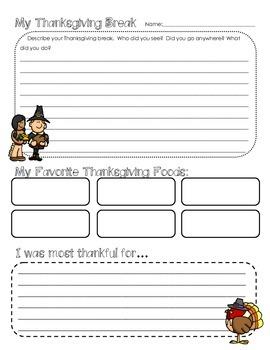 My Thanksgiving Break Reflection Writing Activity