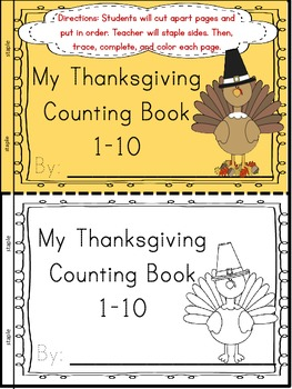 My Thanksgiving Interactive Counting Book (Multiple Representation-Numbers 1-10)