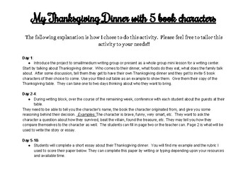 My Thanksgiving Dinner with 5 Book Characters