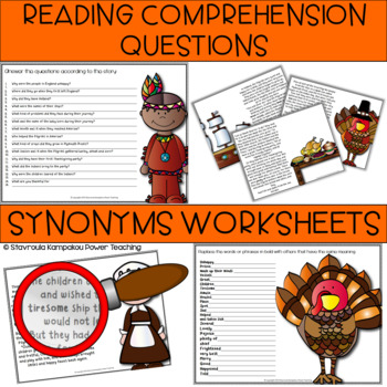 My Thanksgiving Story (Reading Comprehesion & Sentence building Exercises)