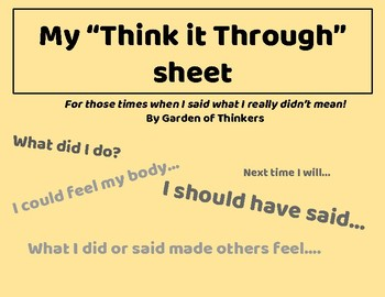 "My ""Think It  Through"" Sheet"