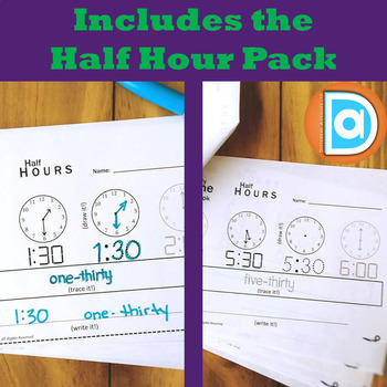Telling Time Activity Bundle | My Time Book | Hours & Half Hours | First Grade