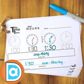My 1st Grade Time Book | Read, Draw & Write it | Digital & Analog Half Hours