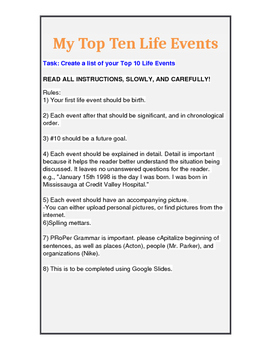 My Top Ten Life Events writing assignment
