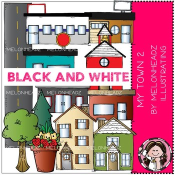 My Town clip art - set 2 - BLACK AND WHITE - by Melonheadz
