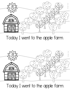 My Trip to the Apple Farm Emergent Reader, Task Cards, LA & Math Activities