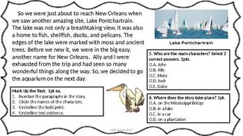 My Trip to the Aquarium Editable Comprehension Passage
