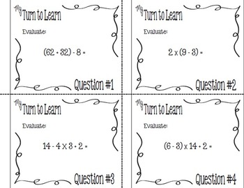 My Turn to Learn Task Cards: Evaluating Numerical Expressions with QR Codes