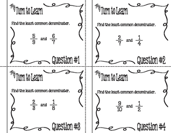 My Turn to Learn QR Cards: Find the Least Common Denominator