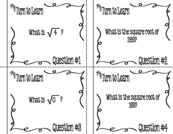 My Turn to Learn QR Cards: Perfect Square Root Fluency