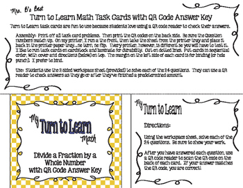 My Turn to Learn QR Code Task Cards: Divide a Fraction by a Whole Number