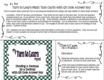 My Turn to Learn QR Code Task Cards: Dividing A Decimal by Two-Digit