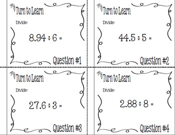 My Turn to Learn QR Code Task Cards: Dividing A Decimal by a Single-Digit